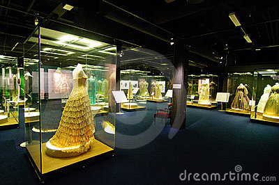 Old dresses and old photographs exhibition Editorial Stock Image