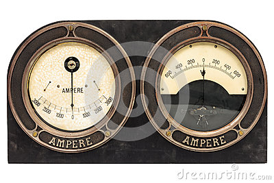 Old early twentieth century double ampere meter