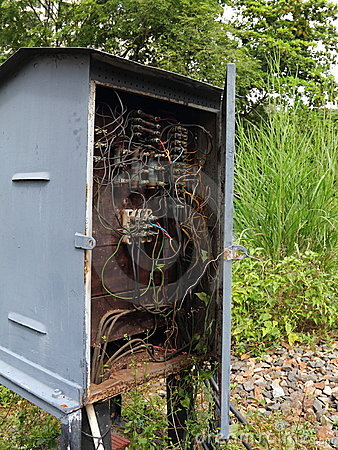 Old electric box with wiring