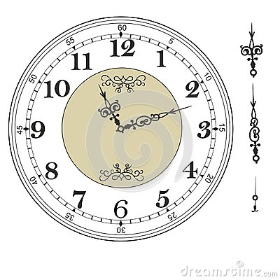 Free Old Elegant  Clock  Face Template With Numerals And Arrows. Royalty Free Stock Image - 90659556