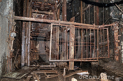 The old elevator in the coal mine