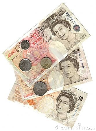 Old england: banknotes and coins
