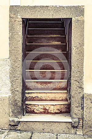 Free Old Entrance Stone House Open Door With Stairs Royalty Free Stock Photo - 58784545