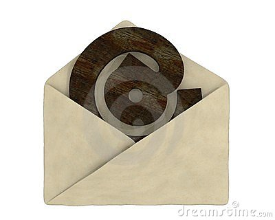 Old envelope with e-mail symbol