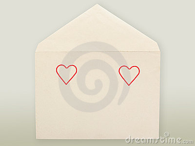 Old envelope and hearts.