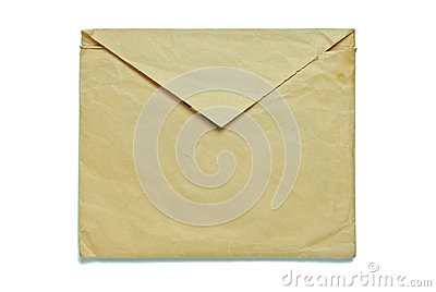 Old envelope on white