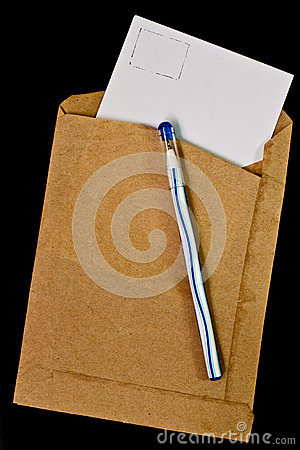 Old envelopes and a pen.