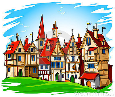 Old european town vector illustration