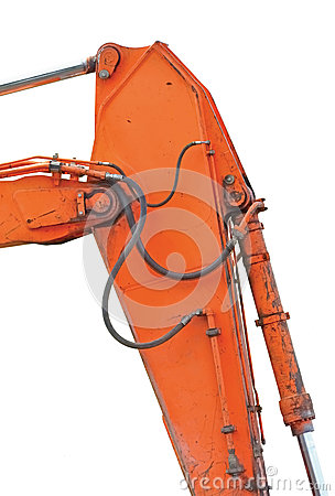 Old Excavator Dipper And Boom Vertical Isolated