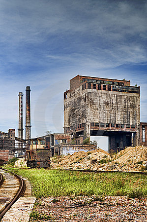 Old factoryand ironworks with chimneys