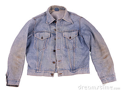 Old Faded Denim Blue Jean Levi Jacket Isolated