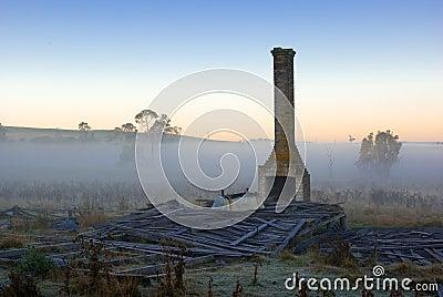 Old farm house ruins sunrise