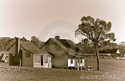 Old farm ranch in sepia
