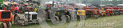 Old Farm Tractor Panoramic Panorama Banner Editorial Photo
