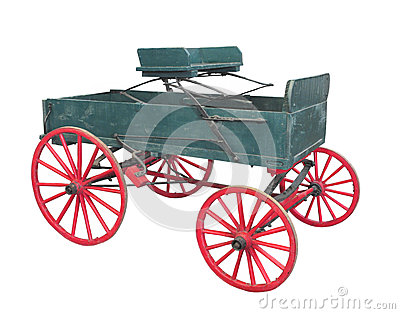Old farm wagon buckboard isolated.