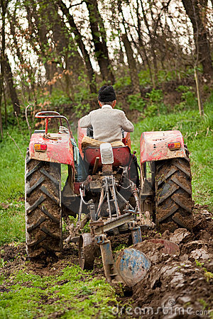 Old farmer plowing