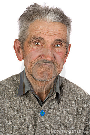Old farmer on white