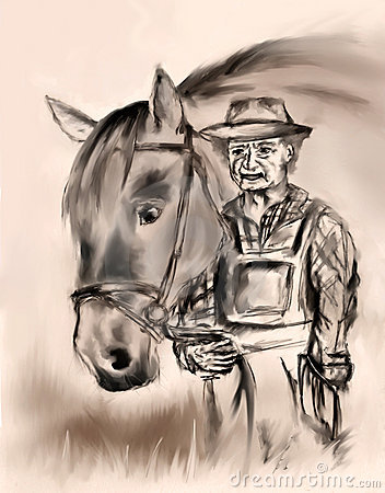 Free Old Farmer With A Horse Stock Photography - 13962682