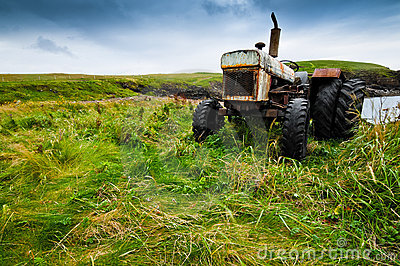 Old farmers tractor