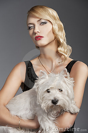 Old fashion blond girl, with dog