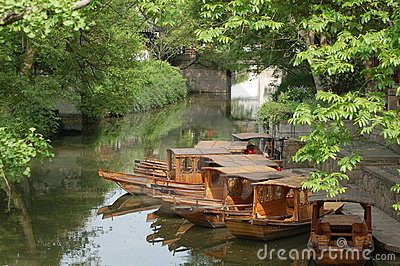 Old fashion boat in quiet water