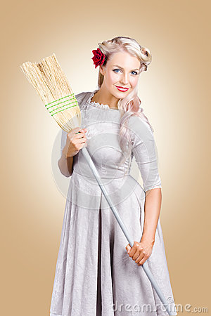 Free Old Fashion Woman Spring Cleaning With Broom Royalty Free Stock Photos - 30482158