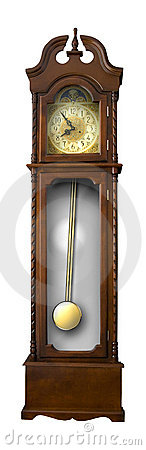 Old-fashion wooden clock with pendulum