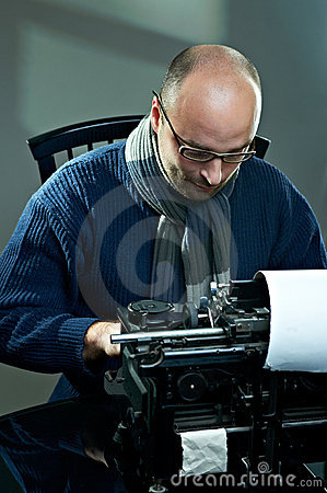 Free Old Fashioned Bald Writer In Glasses Royalty Free Stock Photo - 17426945