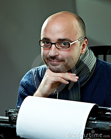 Free Old Fashioned Bald Writer In Glasses Royalty Free Stock Images - 17495859