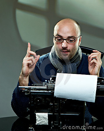 Free Old Fashioned Bald Writer In Glasses Royalty Free Stock Image - 17495876
