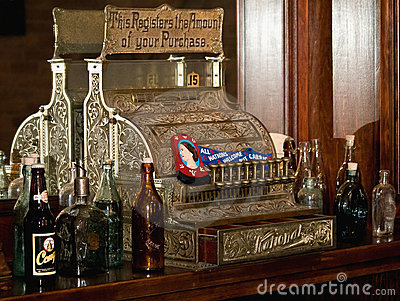 Old fashioned bar cash register Editorial Stock Photo