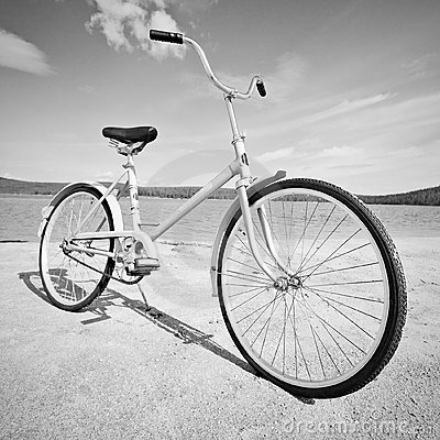 Old-fashioned bicycle - monochrome picture