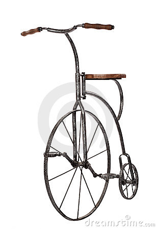 Free Old Fashioned Bicycle Over White Royalty Free Stock Image - 5071736