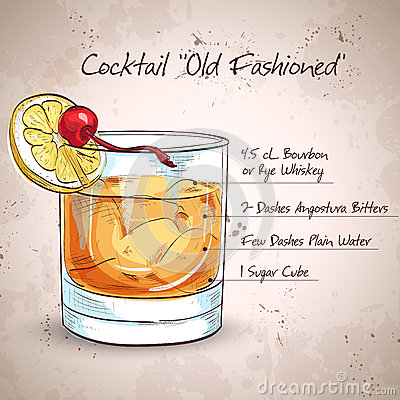 Old fashioned cocktail Vector Illustration
