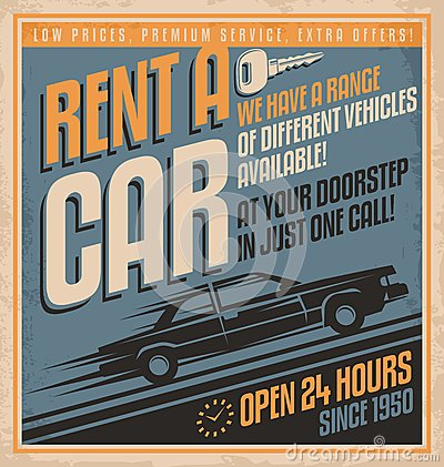 Free Old Fashioned Comics Style Rent A Car Poster Design Stock Image - 33026861