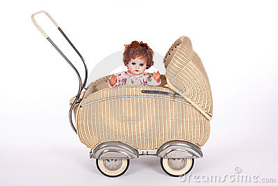 Old-fashioned doll-pram