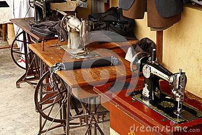 Old Fashioned Foot Powered Sewing Machines