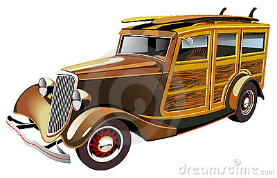 Old-fashioned hot rod Vector Illustration