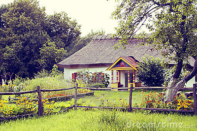 Old-fashioned image of village hut