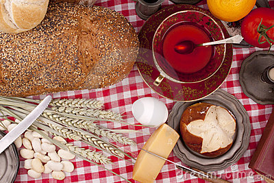 Old fashioned lunch wtih bread and buns