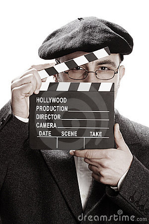 Old fashioned man and movie clapper