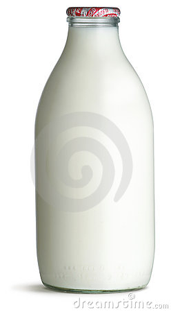 Free Old Fashioned Pint Glass Bottle Of Milk On A White Stock Images - 15230074