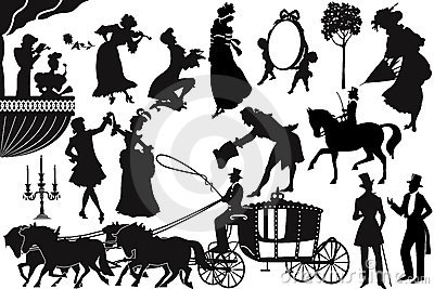 Old-fashioned silhouettes Vector Illustration