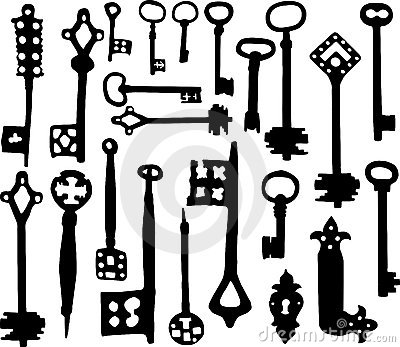Old fashioned skeleton keys
