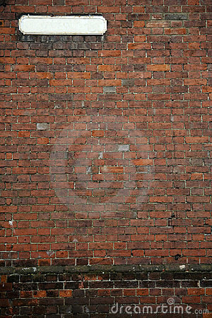 Old fashioned street sign brick wall background