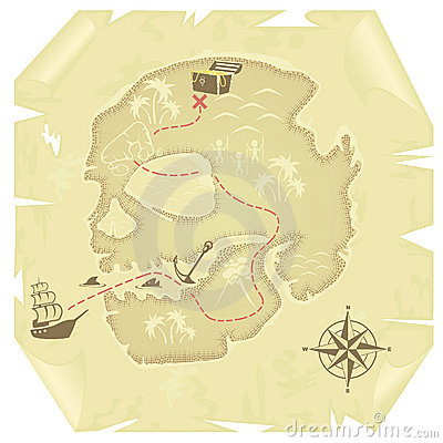 Old-fashioned treasure map