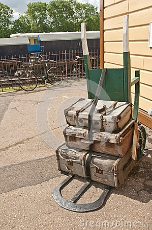 Old fashioned two wheeled luggage trolly