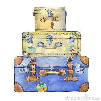 Old-fashioned yellow and blue hippie suitcases with label. Cartoon Illustration