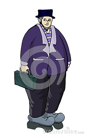 Old fat businesman standing with suitcase