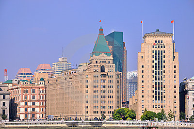 Old and featured buildings in Shanghai Bund Editorial Photo